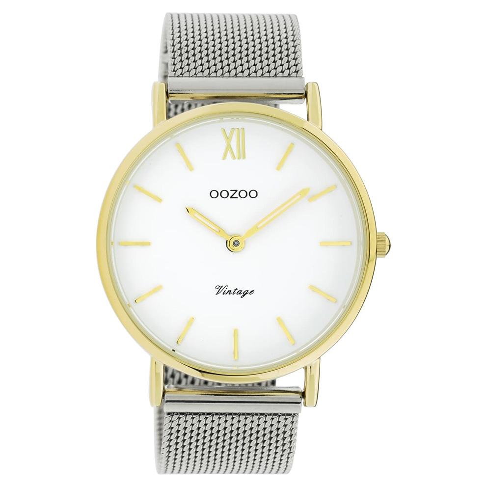 OOZOO C20116 Horloge Vintage Mesh zilver- en goudkleurig-wit 40 mm