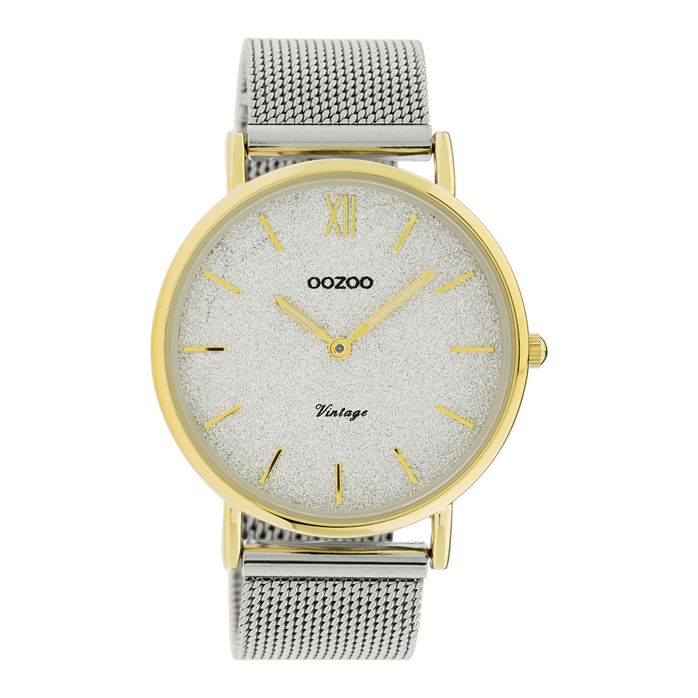OOZOO C20117 Horloge Vintage Mesh zilver en goudkleurig glitter 40 mm
