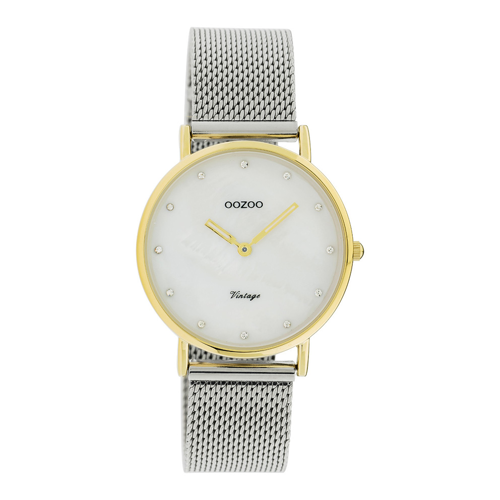 OOZOO C20120 Horloge Vintage Mesh zilver en goudkleurig wit parelmoer 32 mm