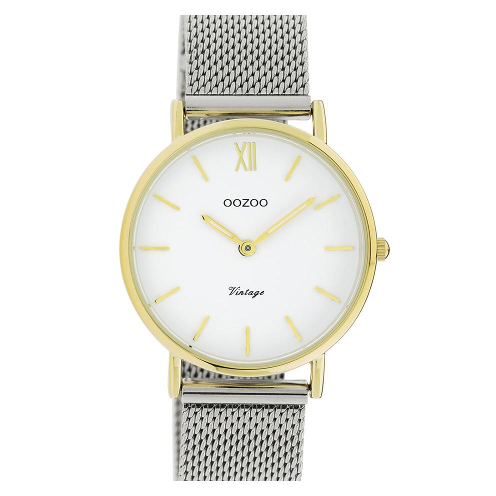 OOZOO C20121 Horloge Vintage Mesh zilver- en goudkleurig-wit 36 mm