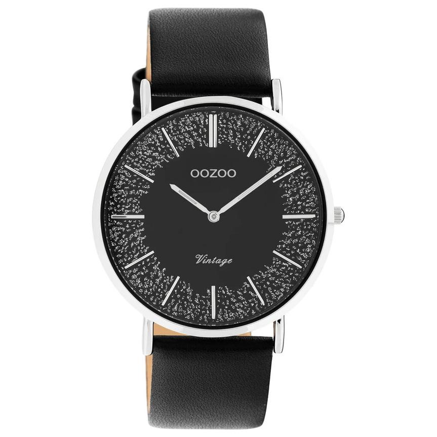 OOZOO C20131 Horloge Vintage staal leder zilverkleurig zwart 40 mm