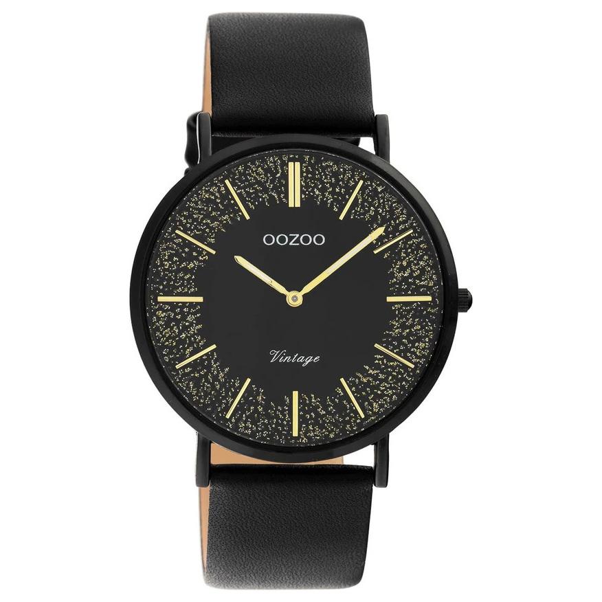 OOZOO C20132 Horloge Vintage staal leder goudkleurig zwart 40 mm