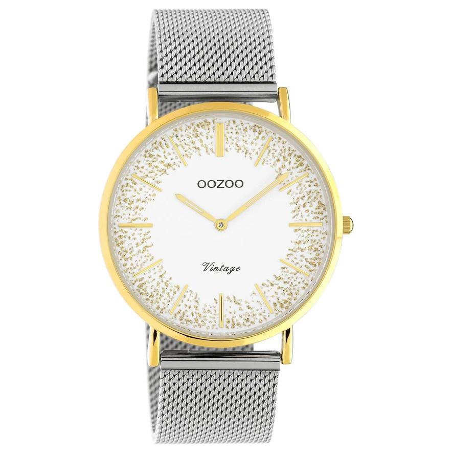 OOZOO C20135 Horloge Vintage Mesh staal zilver en goudkleurig wit 40 mm