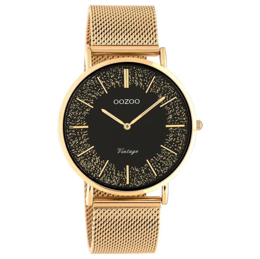 OOZOO C20138 Horloge Vintage Mesh staal rosekleurig zwart 40 mm