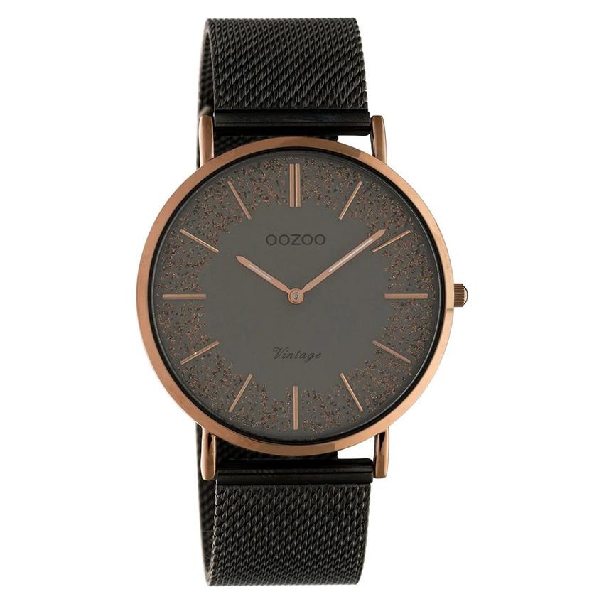 OOZOO C20139 Horloge Vintage Mesh staal titaniumgrijs bruin 40 mm