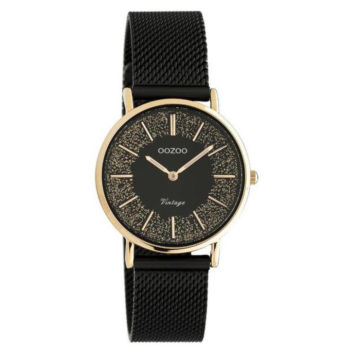 OOZOO C20143 Horloge Vintage Mesh staal rosekleurig-zwart 32 mm