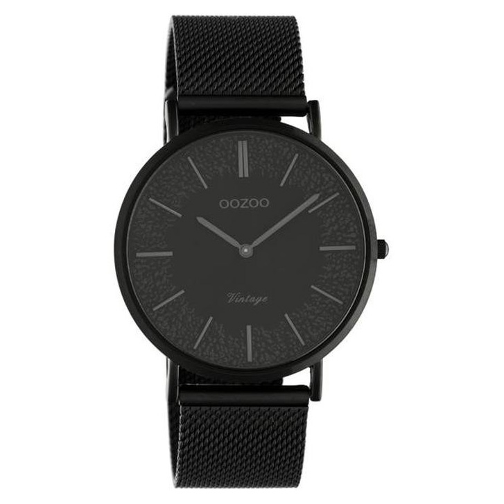 OOZOO C20144 Horloge Vintage Mesh staal zwart 40 mm