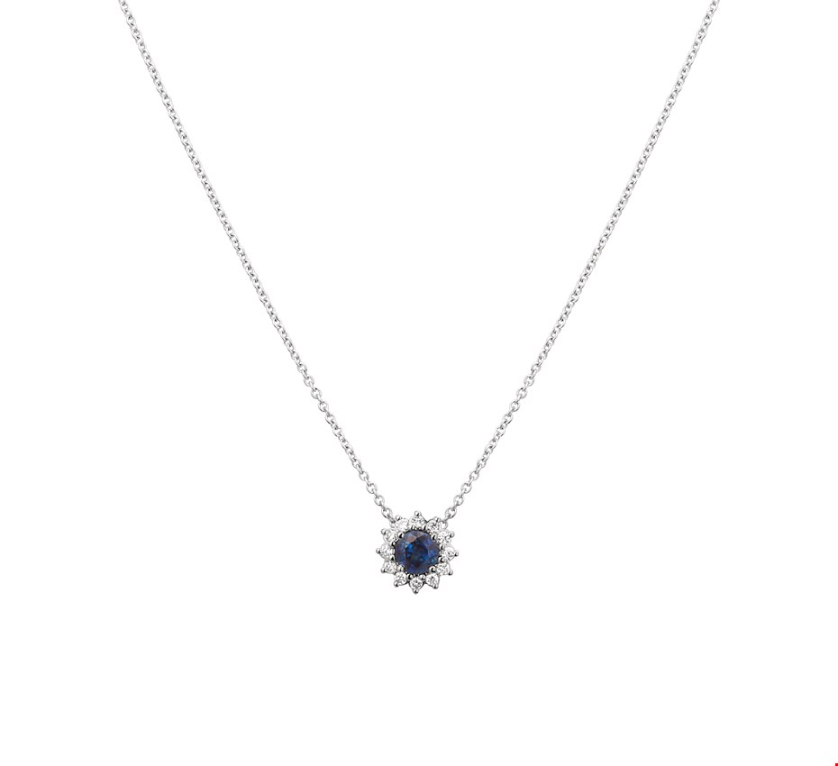 TFT Collier Witgoud Saffier En Diamant 0.09ct H P1