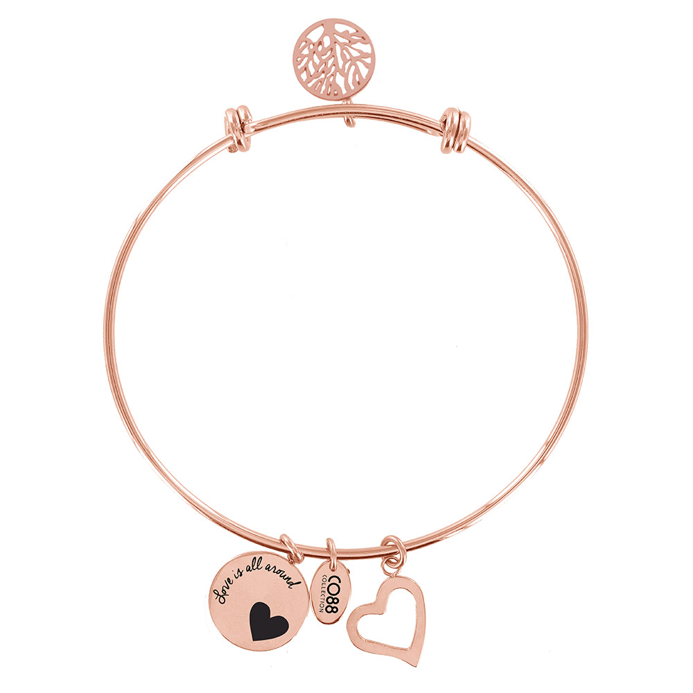 CO88 Armband 'Levensboom-Hart' staal-rosékleurig, all-size 8CB-11001
