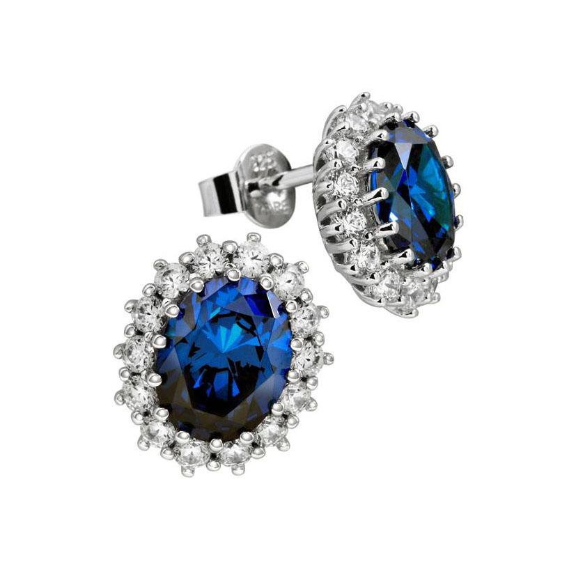 Zilveren Oorknoppen Ovale Blauwe steen The royal, inspired by Kate 806.0074.00