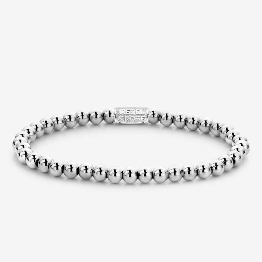 Rebel and Rose RR 40040 S Rekarmband Beads Silver Shine zilverkleurig 4 mm M 17,5 cm