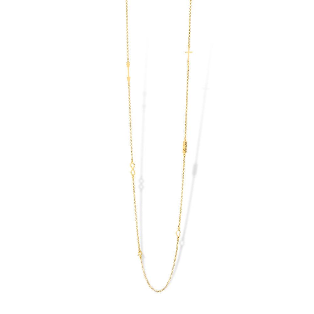 Mi Moneda NEC-02-LOL Ketting zilver goudkleurig 90 cm