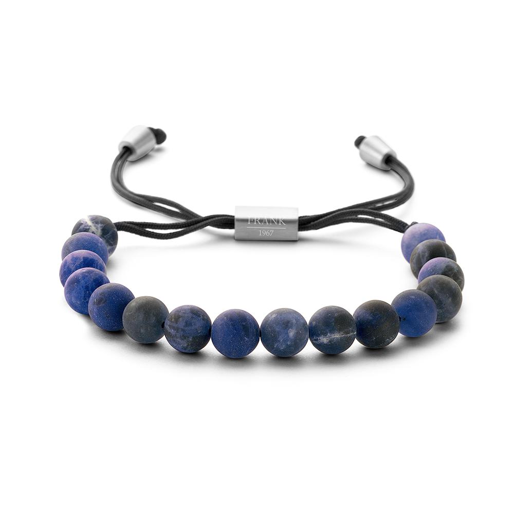 Frank 1967 Courageous Beads 7FB 0268 Heren Armband met Staal Element Sodaliet Natuursteen 8 mm Blauw