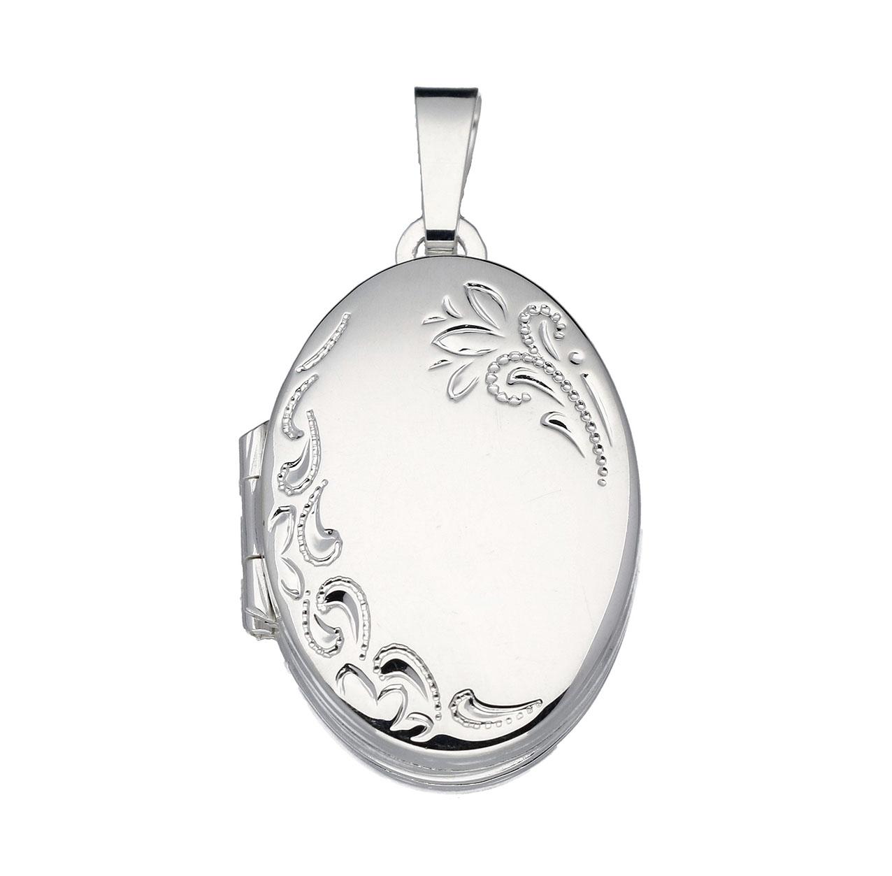 Zilveren Medaillon Ovaal Bloemmotief voor 4 foto's 145.0054.00