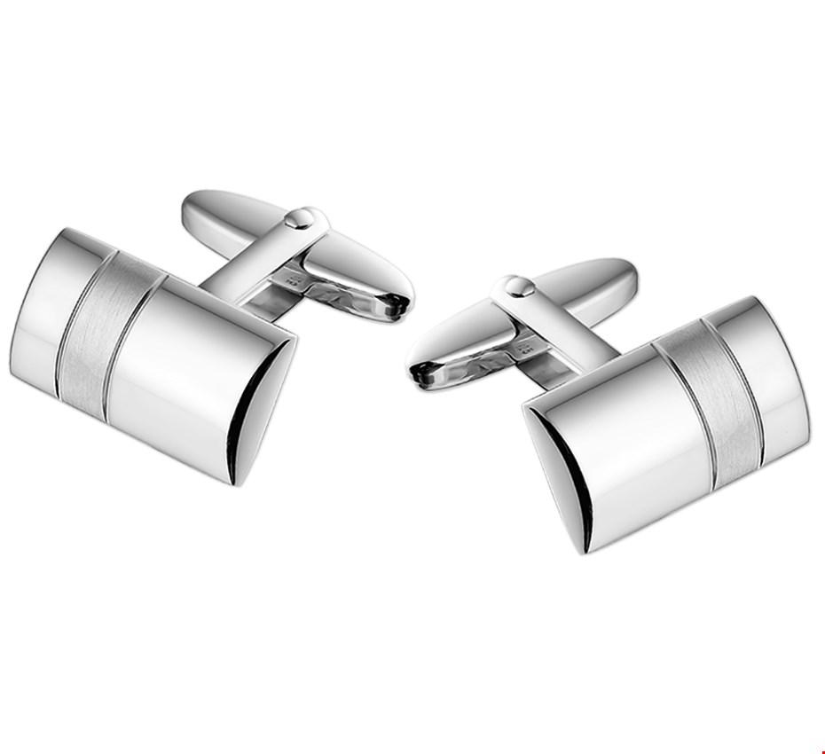 TFT Manchetknopen Poli/mat Zilver Gerhodineerd Mat Glanzend 11,0 mm x 19,0 mm