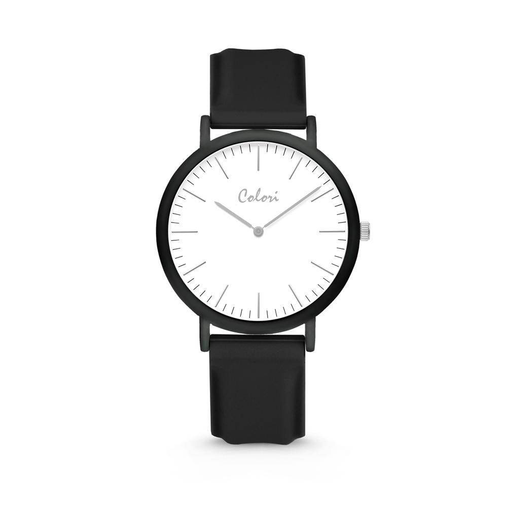 Colori Essentials 5 COL578 Horloge - Siliconen Band - Ø 40 mm - Zwart