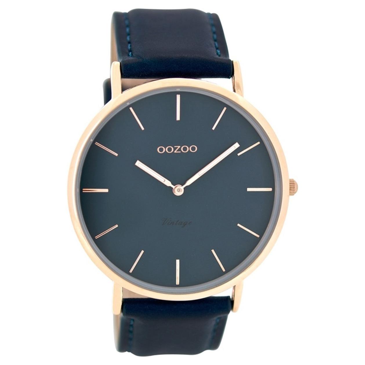 OOZOO C8133 Horloge Vintage rosekleurig petrolblauw 44 mm