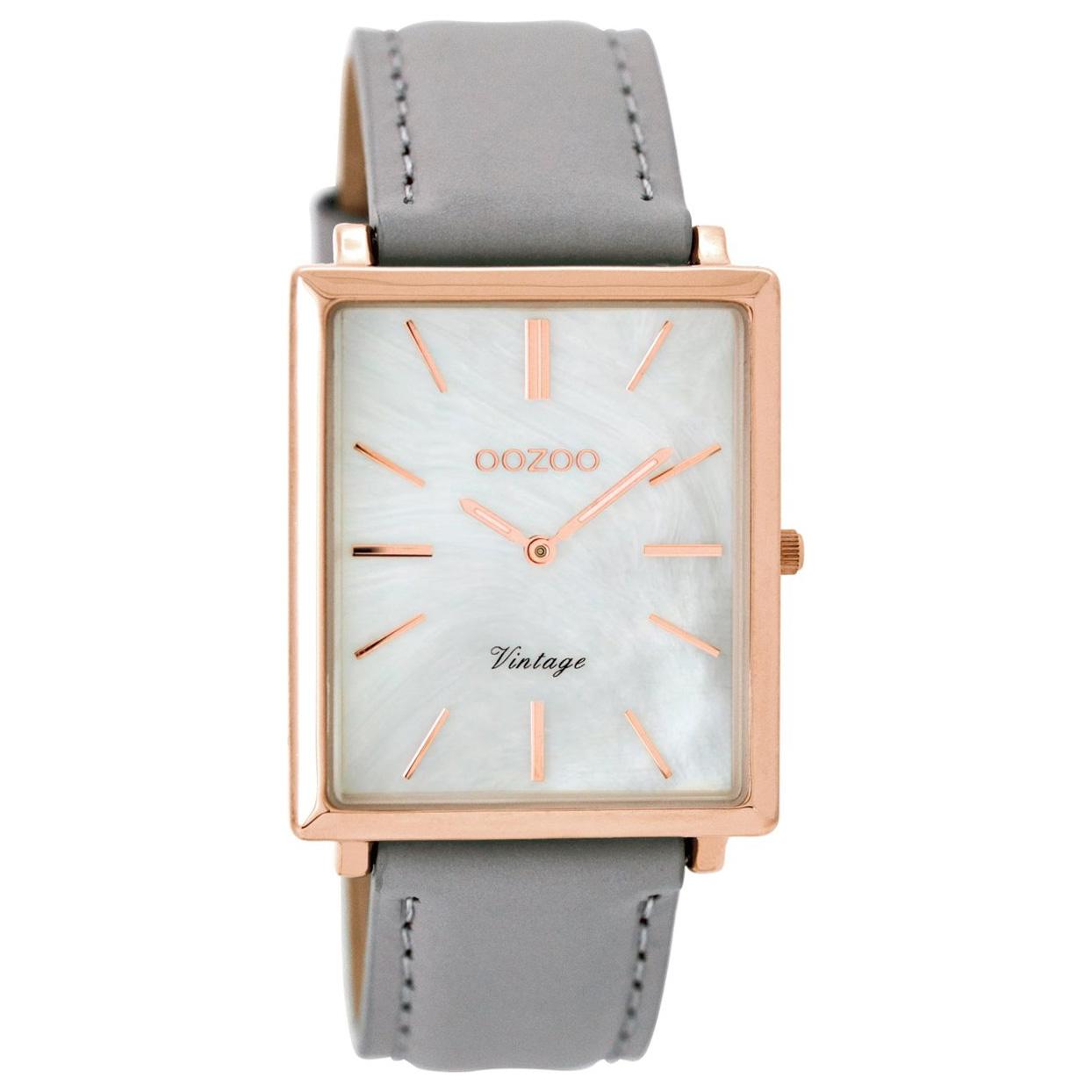 OOZOO C8185 Horloge Vintage rosekleurig-lichtgrijs 31 x 37 mm