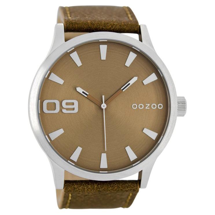 OOZOO C8530 Horloge Timepieces Collection zilverkleurig-bruin 50 mm