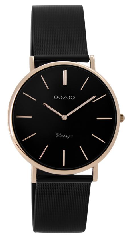 OOZOO Horloge Vintage black rosegold 32 mm C8871