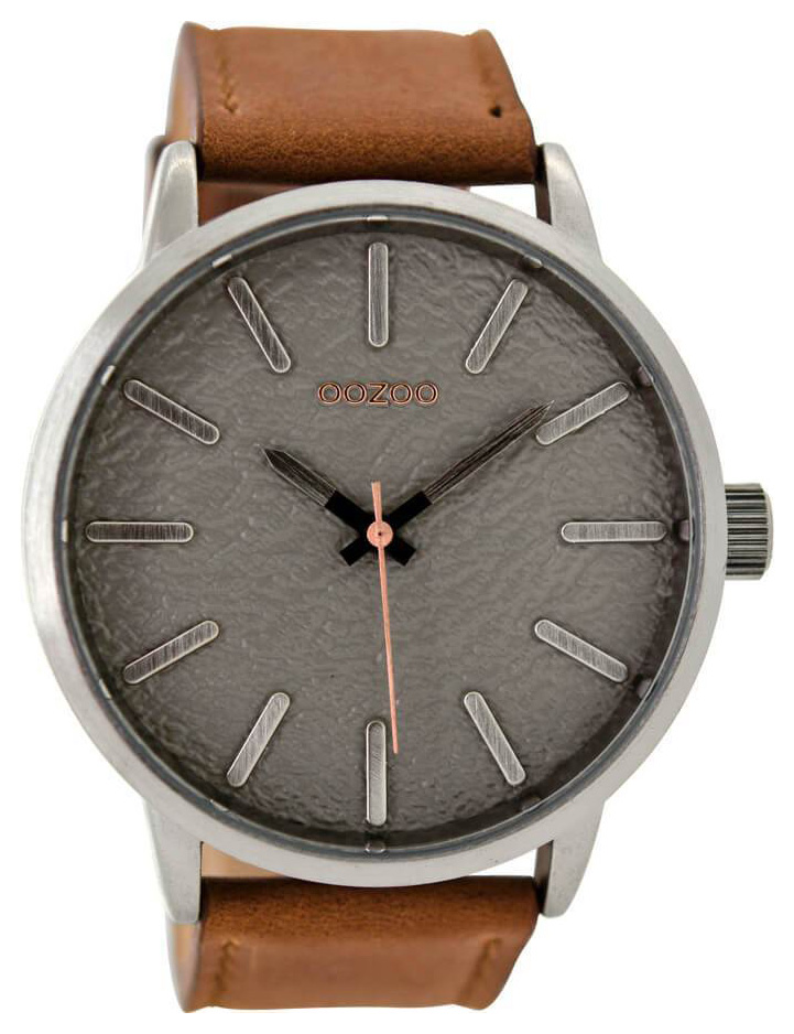 OOZOO C9025 Horloge Timepieces staal leder cognac 48 mm