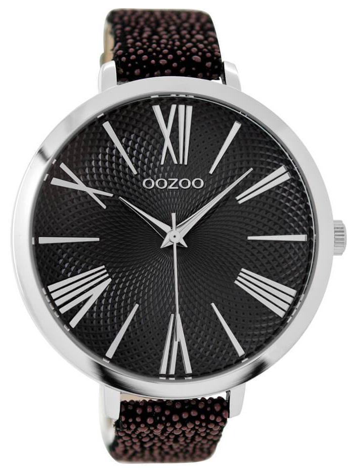OOZOO Horloge Timepieces shiny brown black croco 48 mm C9173