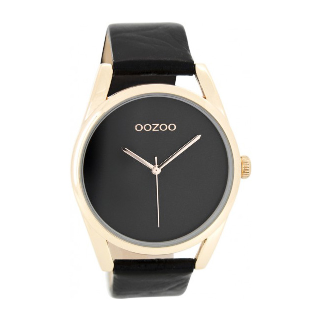 OOZOO Horloge Timepieces Collection staal-leder rosekleurig-zwart C9179