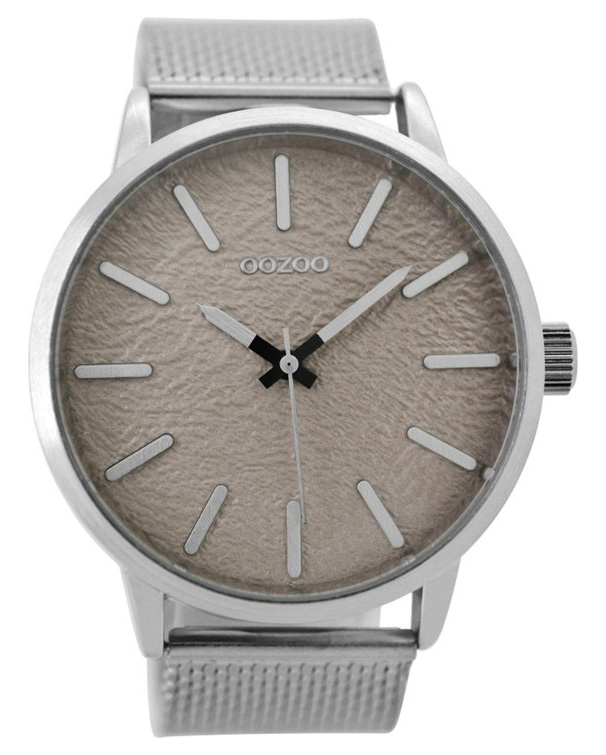 OOZOO Horloge Timepieces staal zilverkleurig-taupe 48 mm C9230