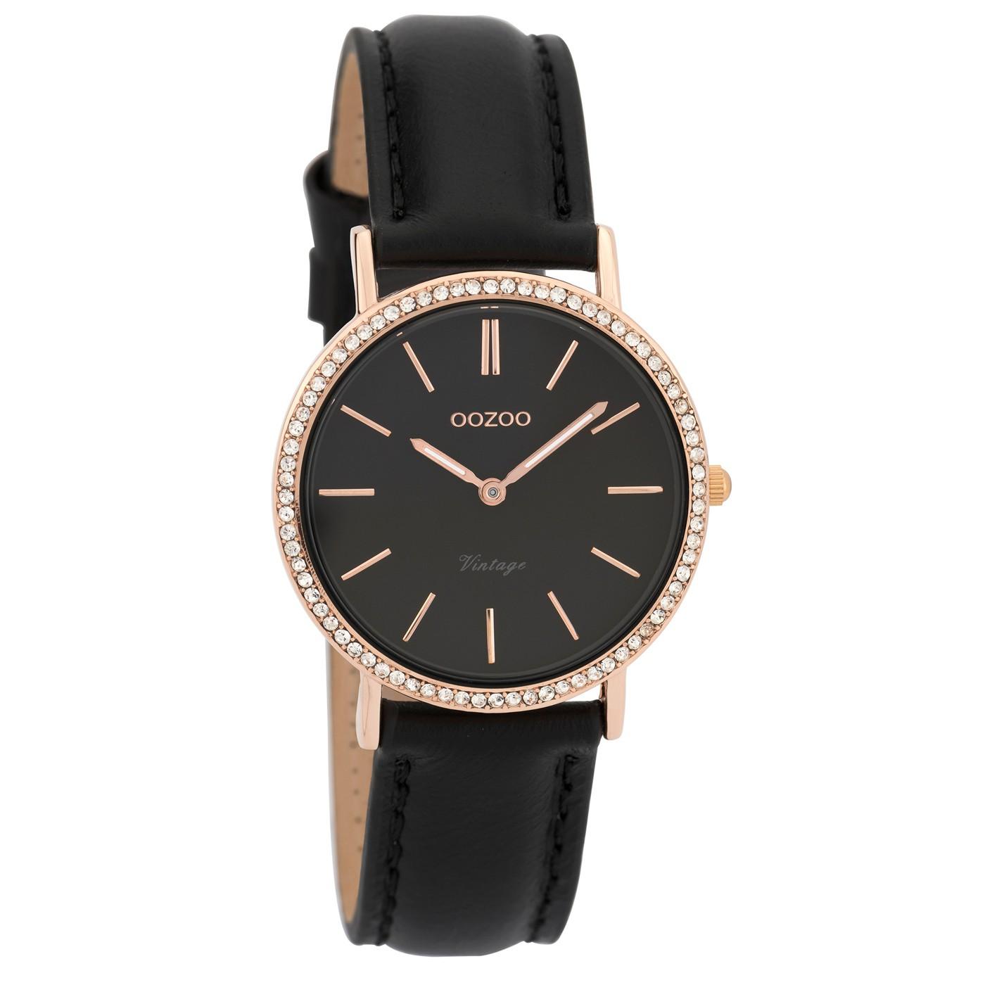 OOZOO Horloge Vintage zwart-rosékleurig 32 mm C9324