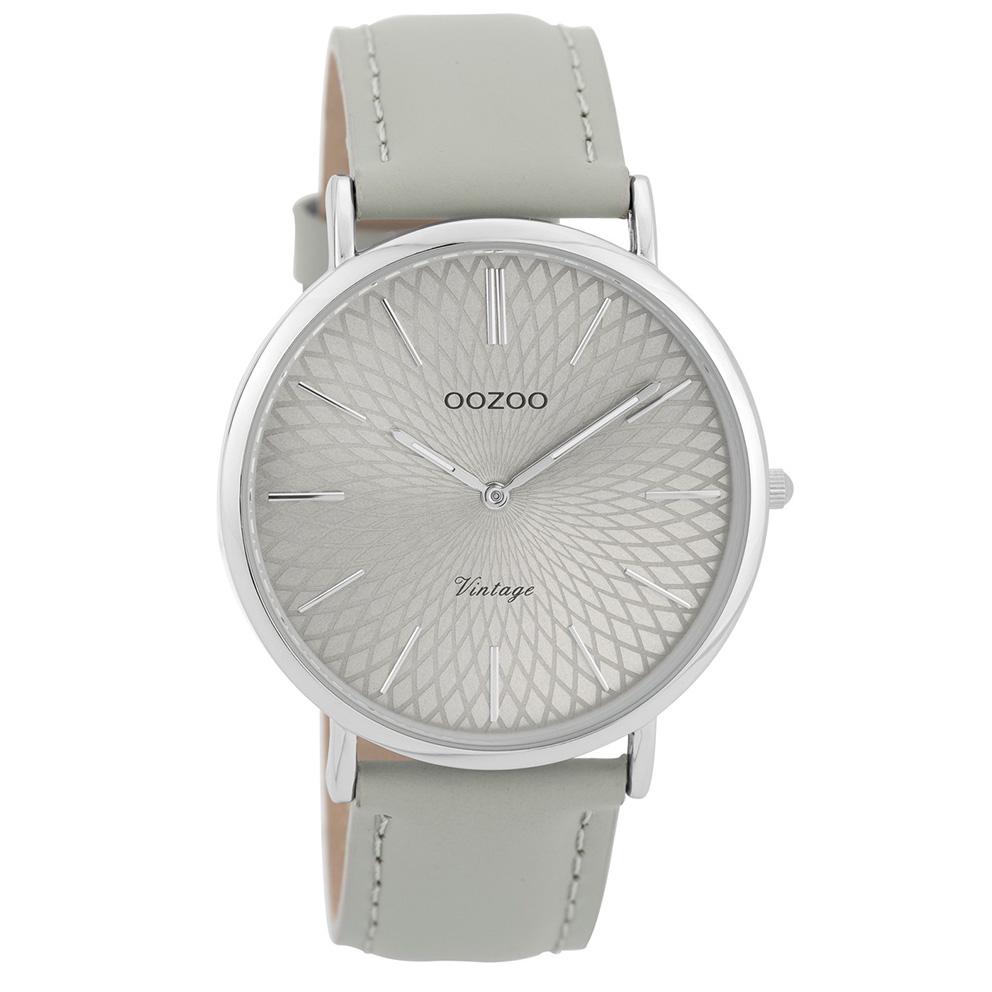 OOZOO Horloge Vintage zilverkleurig-grijs 40 mm C9333