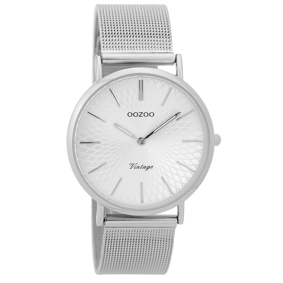 OOZOO C9341 Horloge Vintage zilverkleurig mesh 36 mm