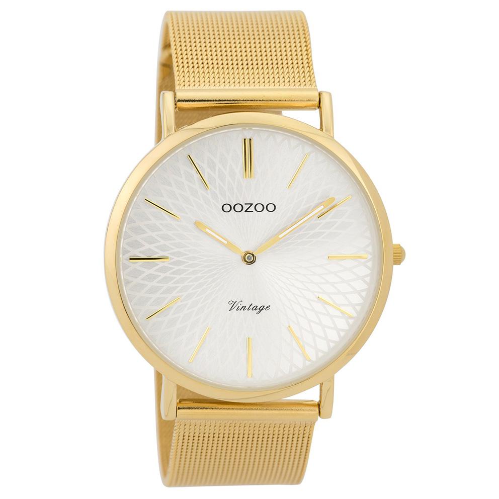 OOZOO Horloge Vintage goudkleurig mesh 40 mm C9346