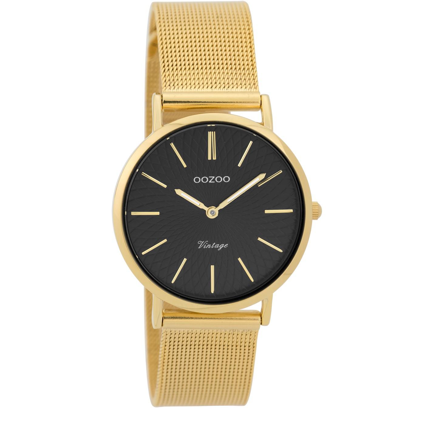 OOZOO Horloge Vintage goudkleurig mesh 32 mm C9349