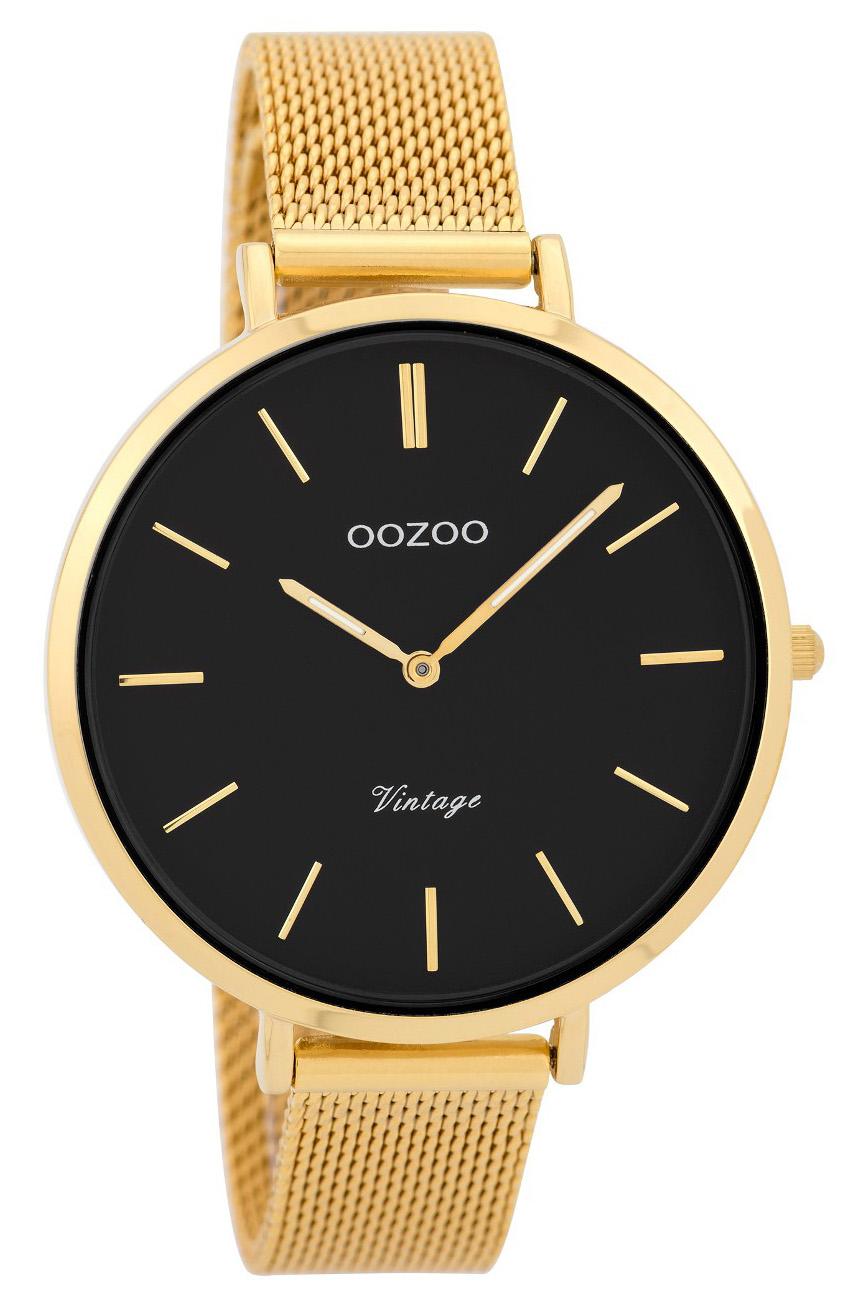 OOZOO Horloge Vintage Mesh goudkleurig-zwart 40 mm C9379