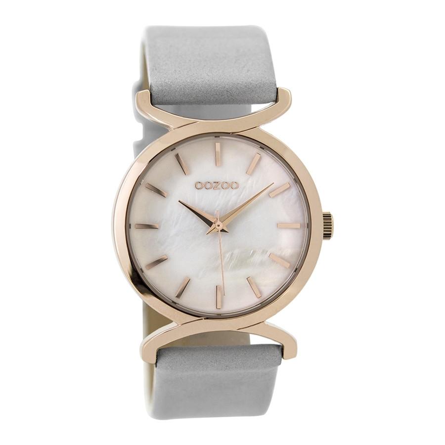 OOZOO Horloge Timepieces Collection staal leder zilverkleurig blauw C9528