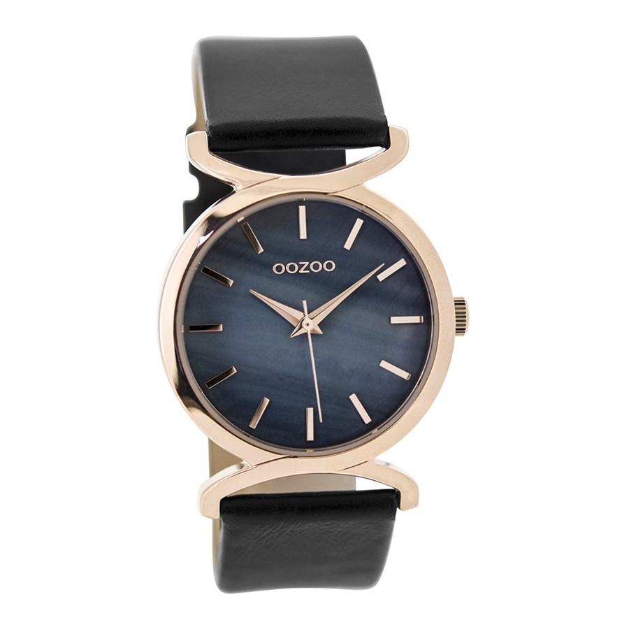 OOZOO Horloge Timepieces Collection staal-leder rosekleurig-zwart C9529