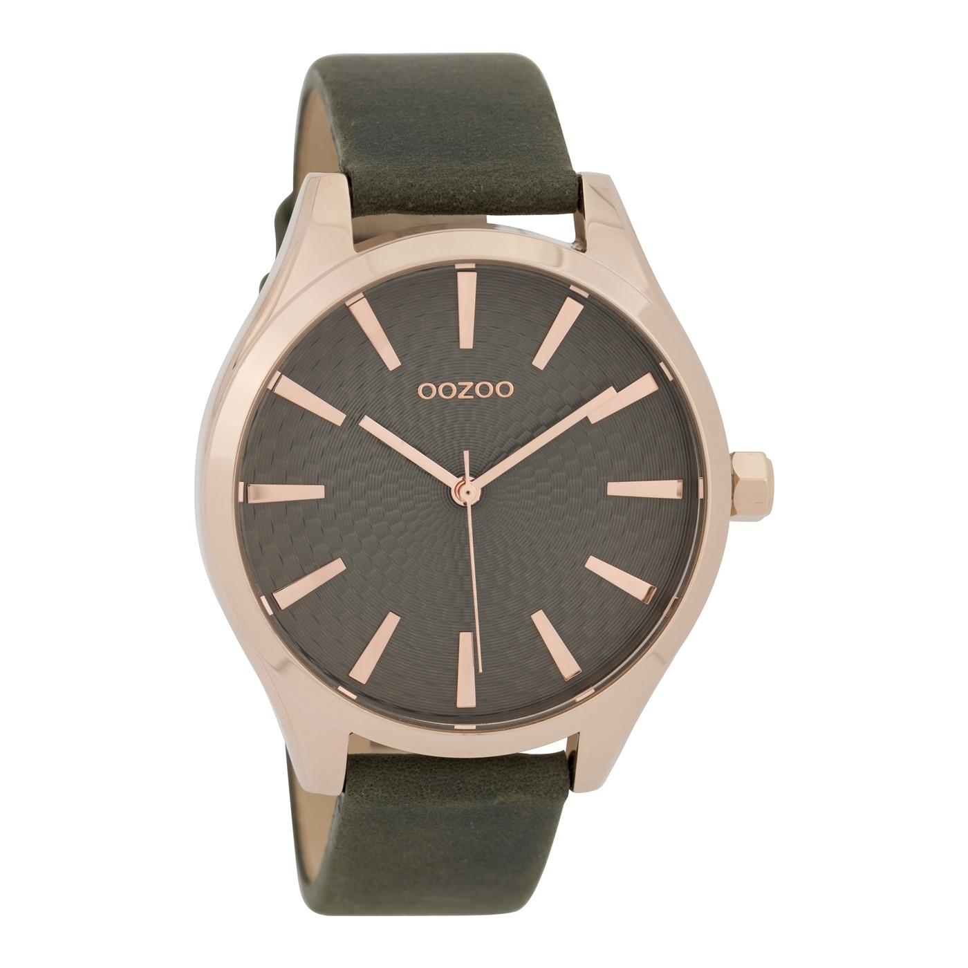 OOZOO Horloge Timepieces Collection staal leder rosekleurig donkergrijs C9688