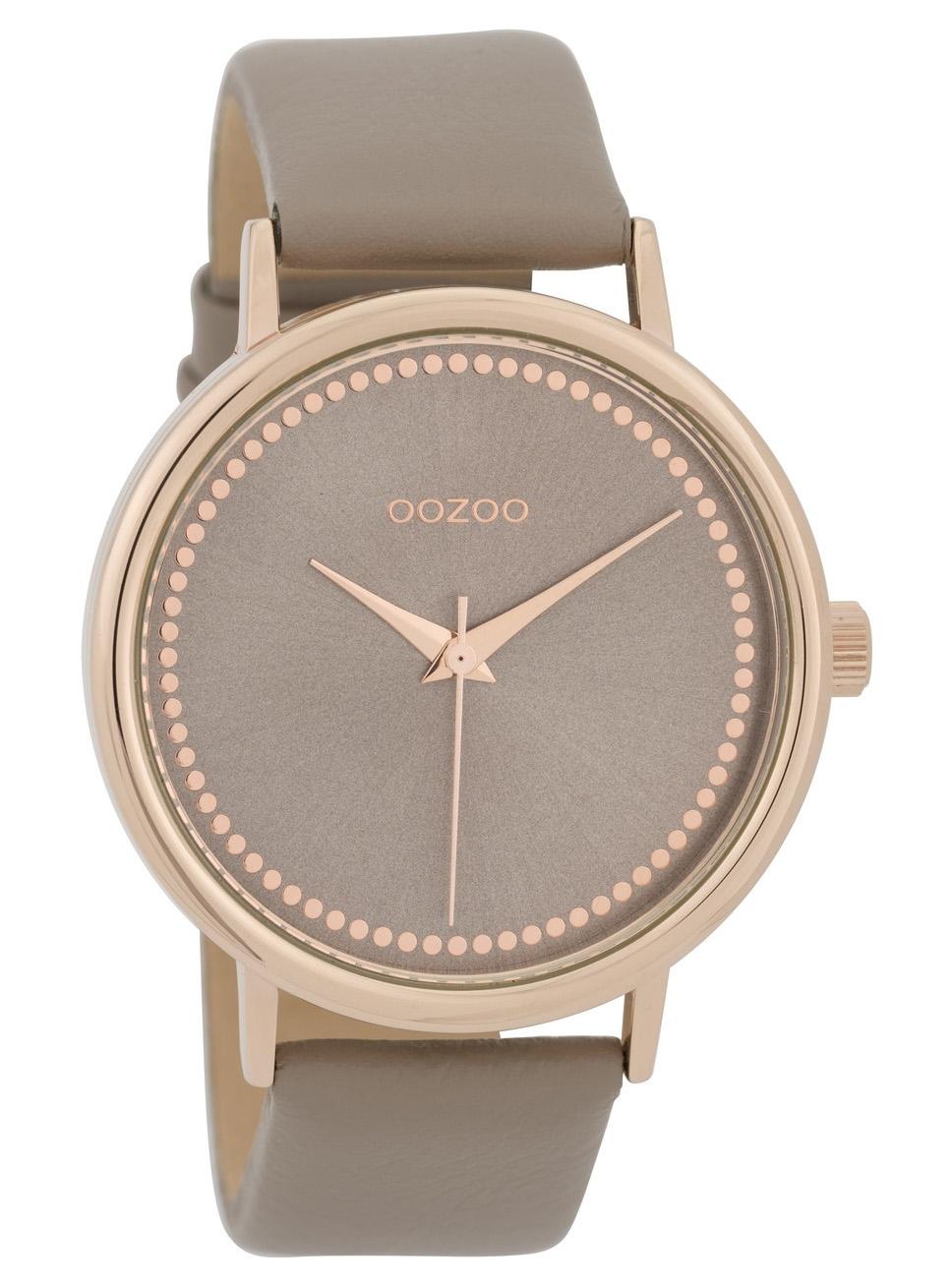 OOZOO C9707 Horloge staal/leder rosekleurig-taupe 42 mm