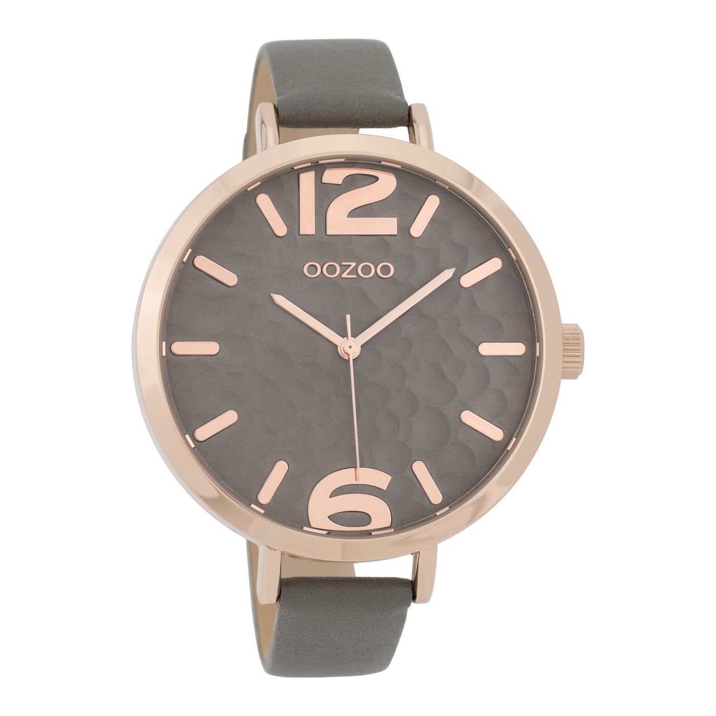 OOZOO Horloge Timepieces Collection staal/leder rosekleurige-olifantgrijs C9713