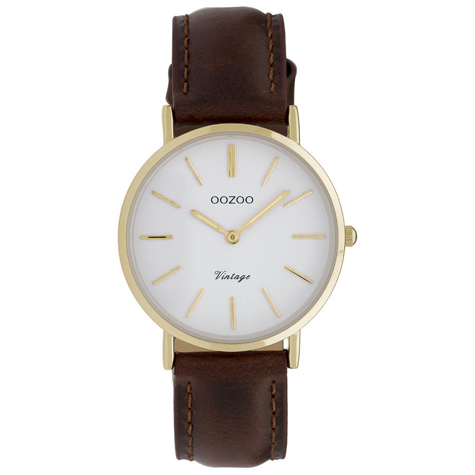 OOZOO C9836 Horloge Vintage staal/leder goudkleurig-bruin 32 mm