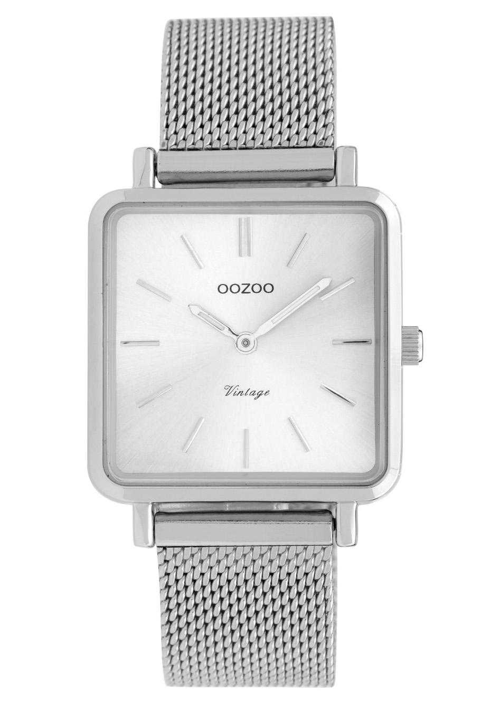 OOZOO C9841 Horloge staal mesh zilverkleurig 29 x 29 mm