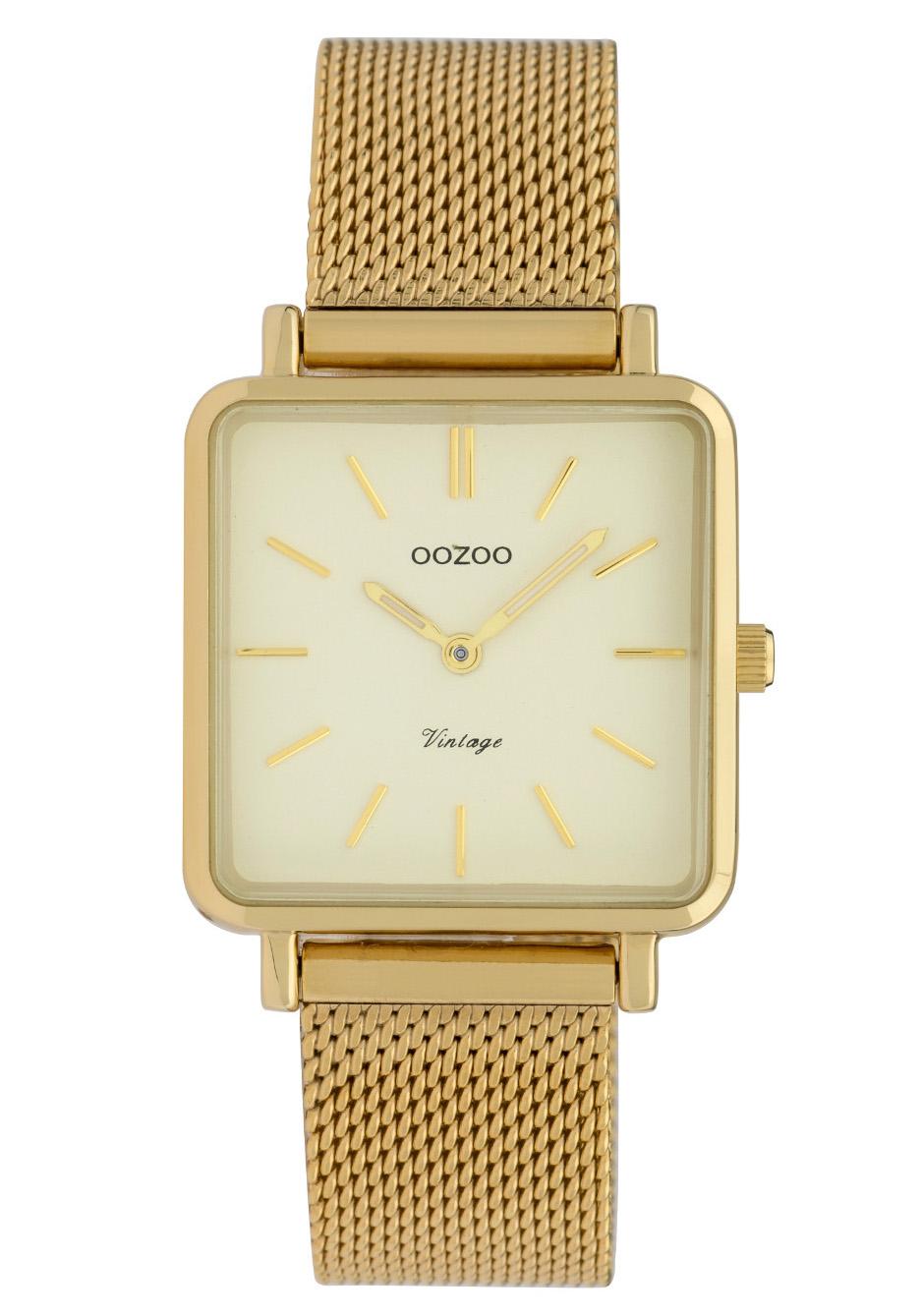 OOZOO C9844 Horloge staal/mesh champagne-goudkleurig 29 x 29 mm