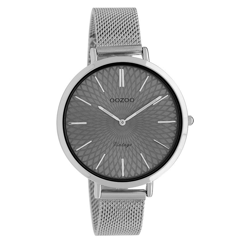 OOZOO C9861 Horloge Vintage Mesh zilverkleurig-grijs 40 mm
