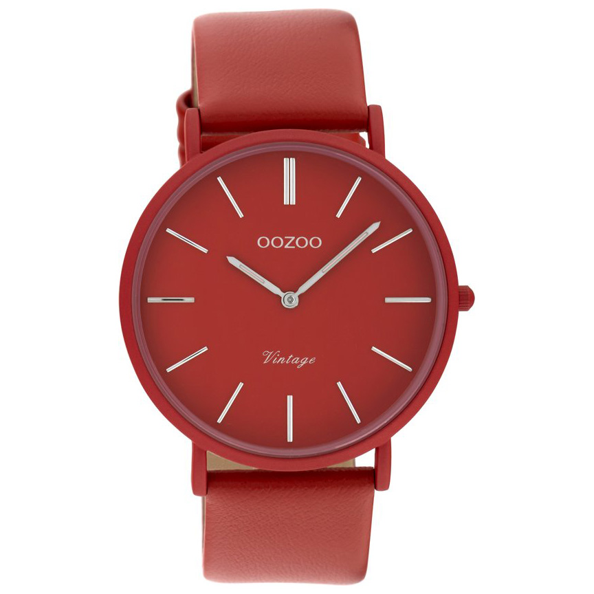 OOZOO C9885 Vintage Horloge aluminium leder chilipepper rood 40 mm
