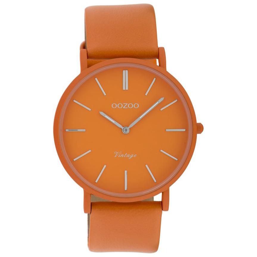 OOZOO C9886 Vintage Horloge aluminium/leder brick orange 40 mm