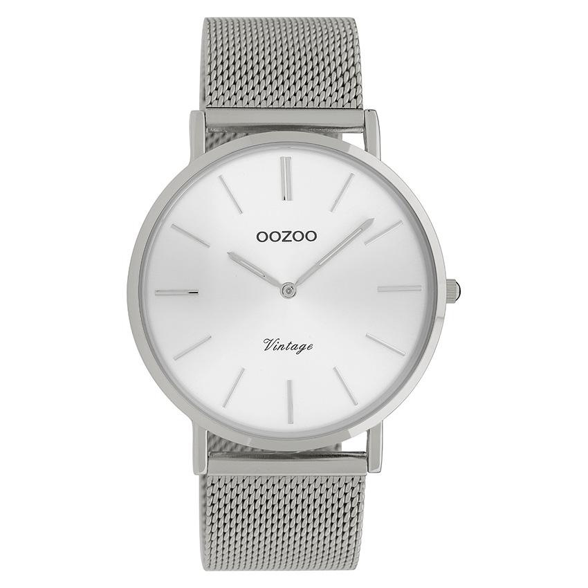 OOZOO C9905 Horloge Vintage Mesh zilverkleurig 40 mm