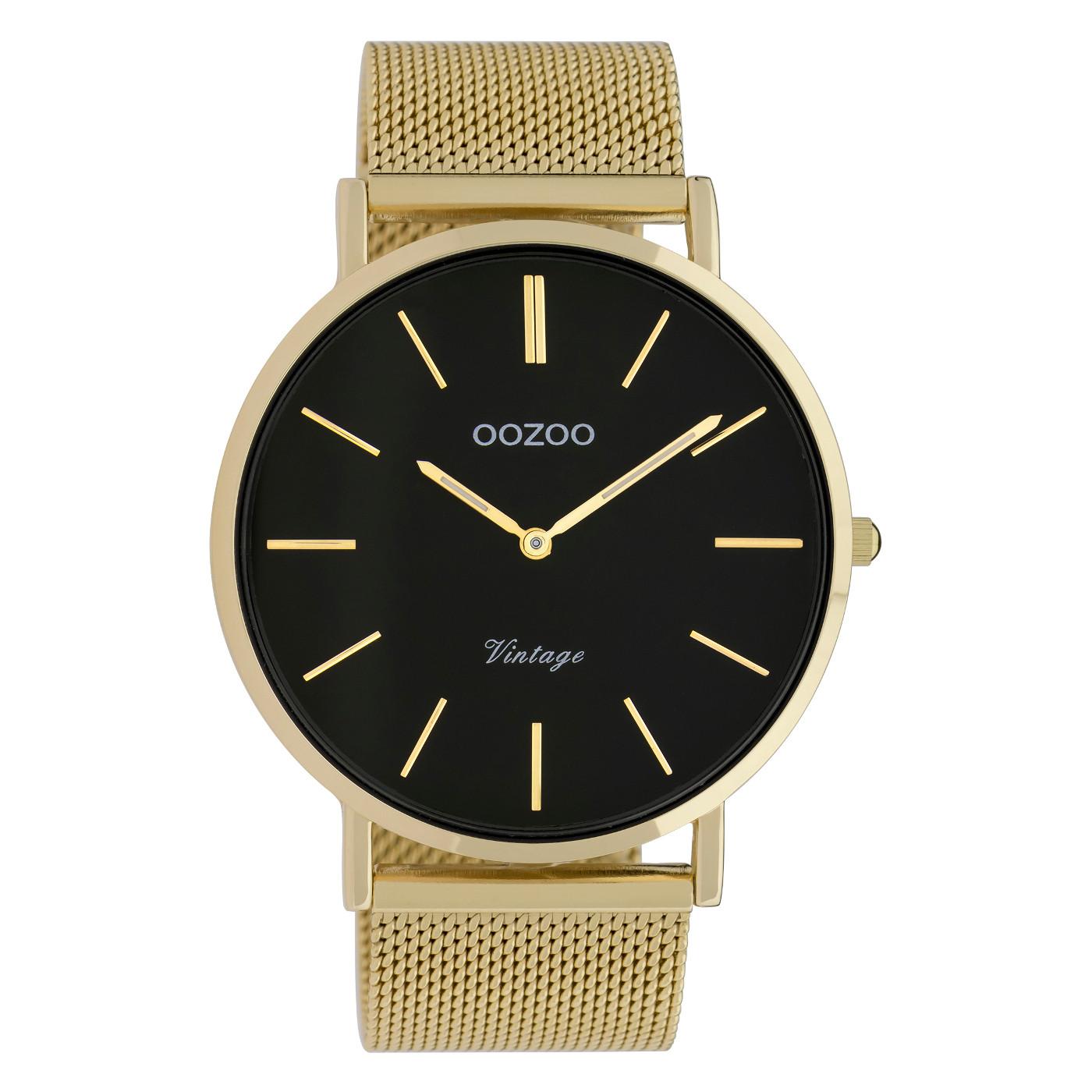 OOZOO C9912 Horloge staal mesh goudkleurig zwart 44 mm