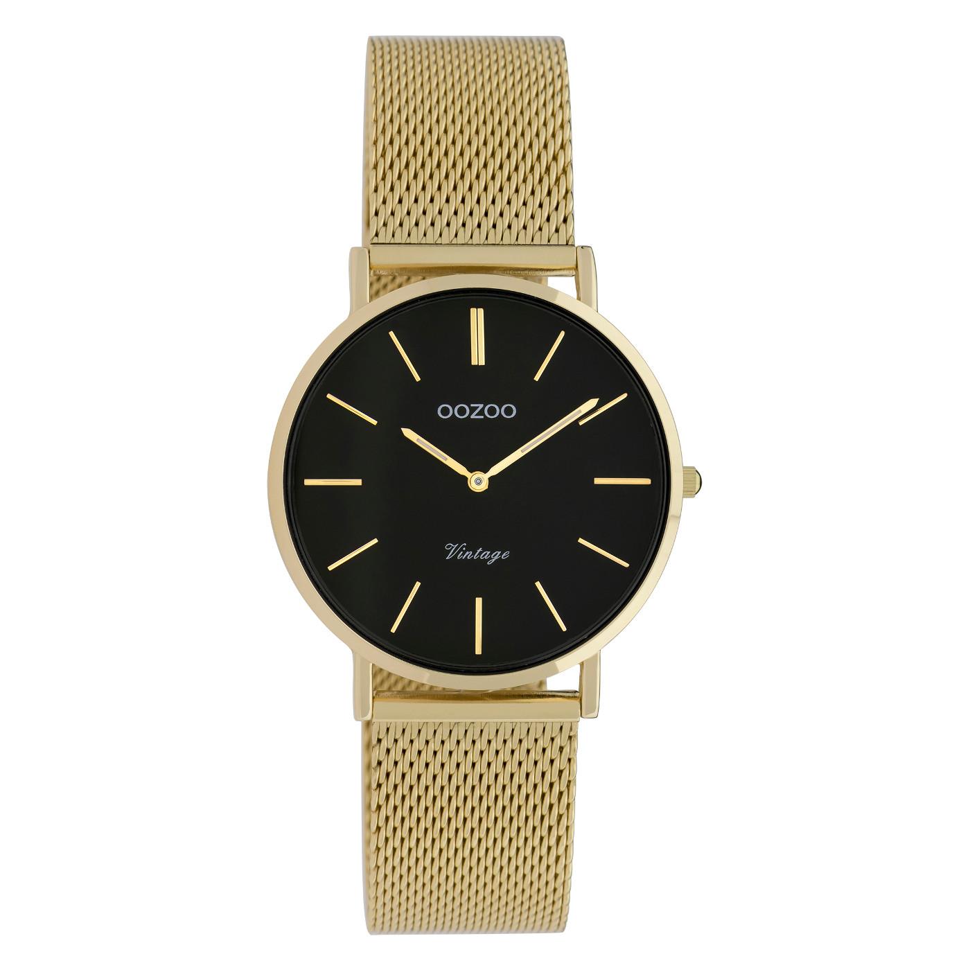 OOZOO C9915 Horloge staal/mesh goudkleurig-zwart 32 mm