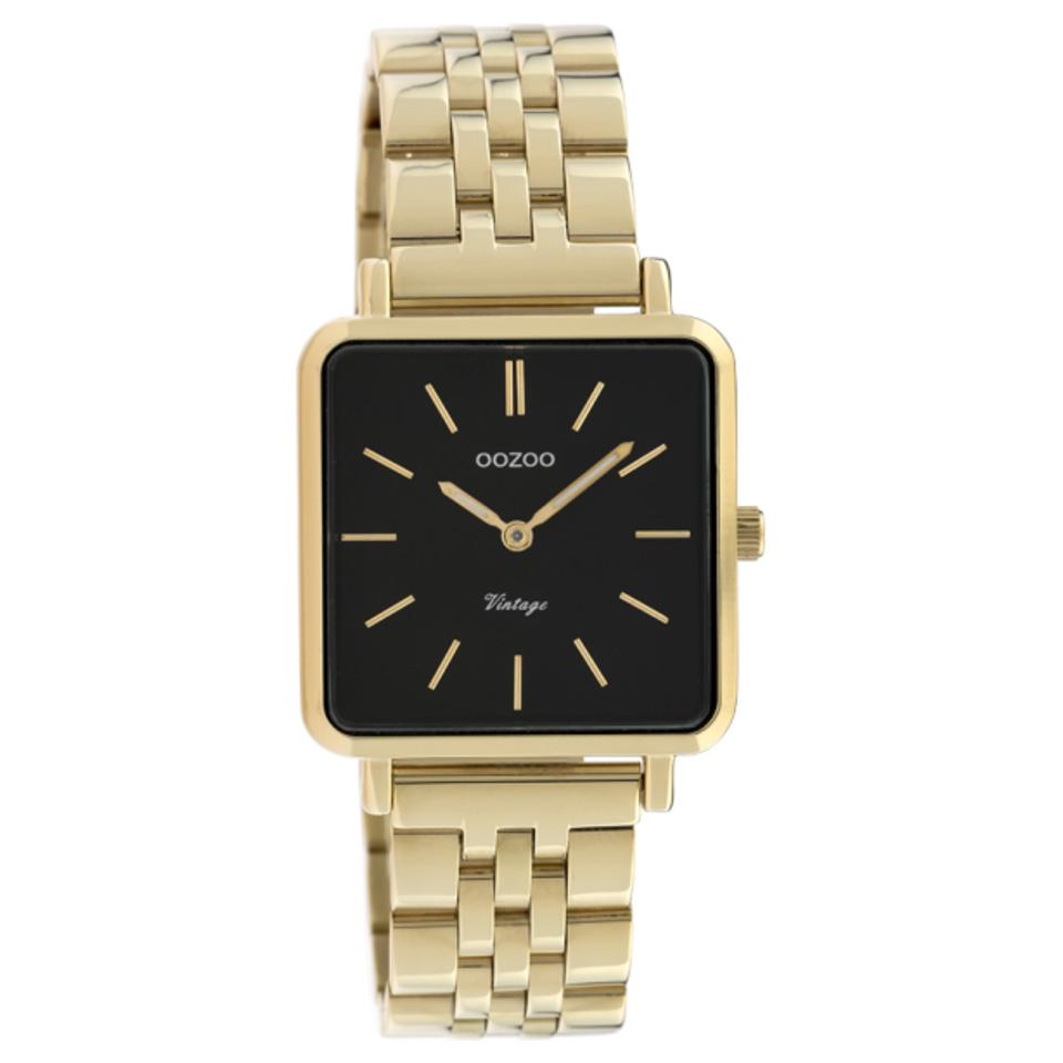 OOZOO C9957 Horloge Vintage staal goudkleurig zwart 29 x 29 mm