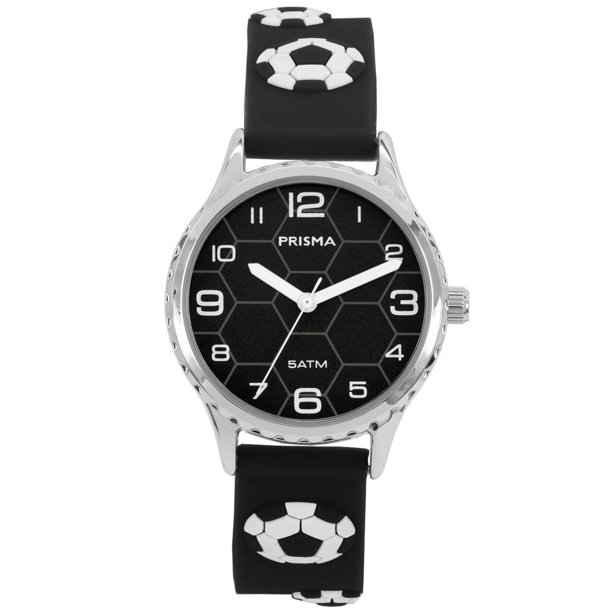 Coolwatch by Prisma CW.350 Kinderhorloge Voetbal staal/siliconen zwart-wit 30 mm